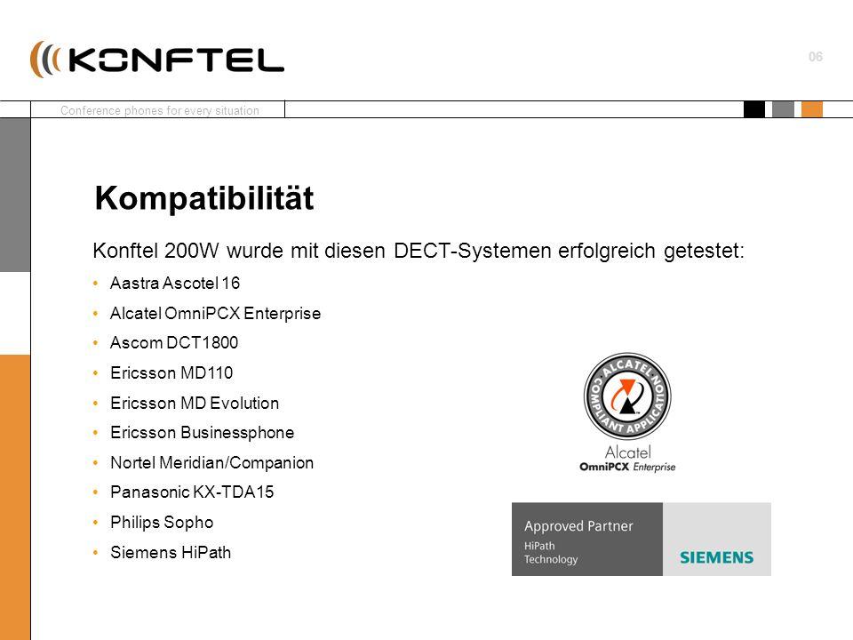 KompatibilitätKonftel 200W wurde mit diesen DECT-Systemen erfolgreich getestet: Aastra Ascotel 16. Alcatel OmniPCX Enterprise.