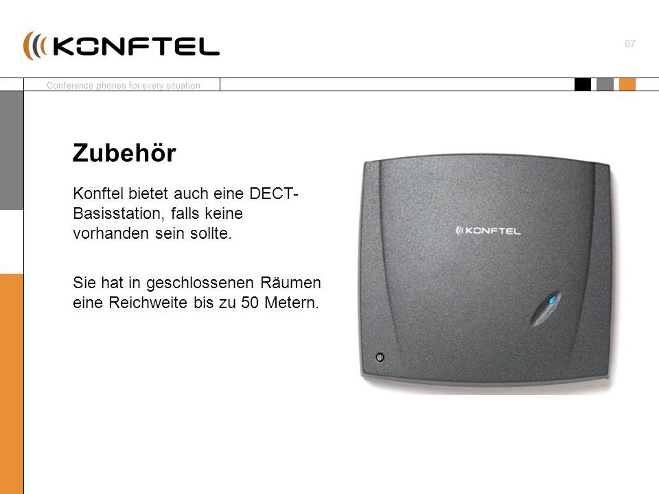 Zubehör Konftel bietet auch eine DECT- Basisstation, falls keine vorhanden sein sollte.