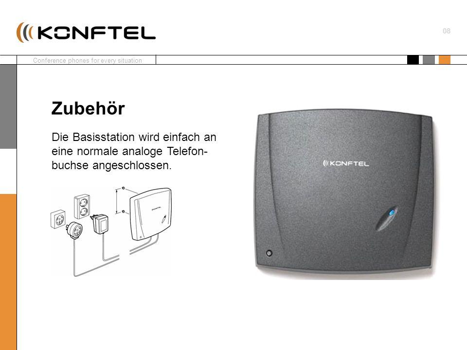 Zubehör Die Basisstation wird einfach an eine normale analoge Telefon-buchse angeschlossen.