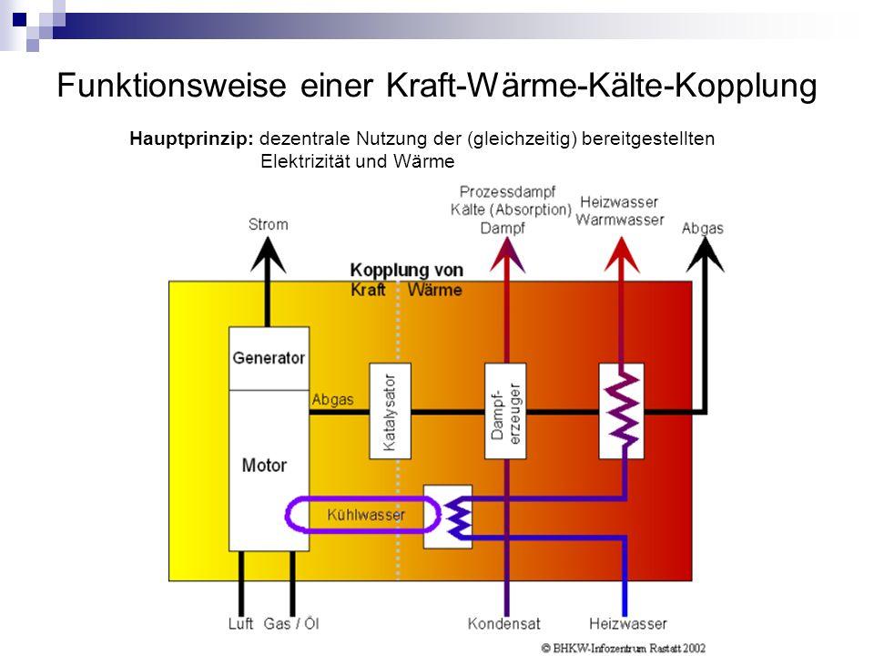 Funktionsweise einer Kraft-Wärme-Kälte-Kopplung
