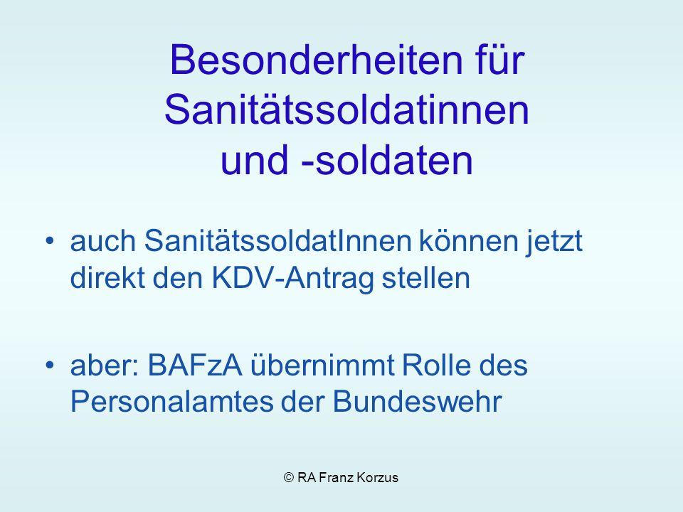 Besonderheiten für Sanitätssoldatinnen und -soldaten