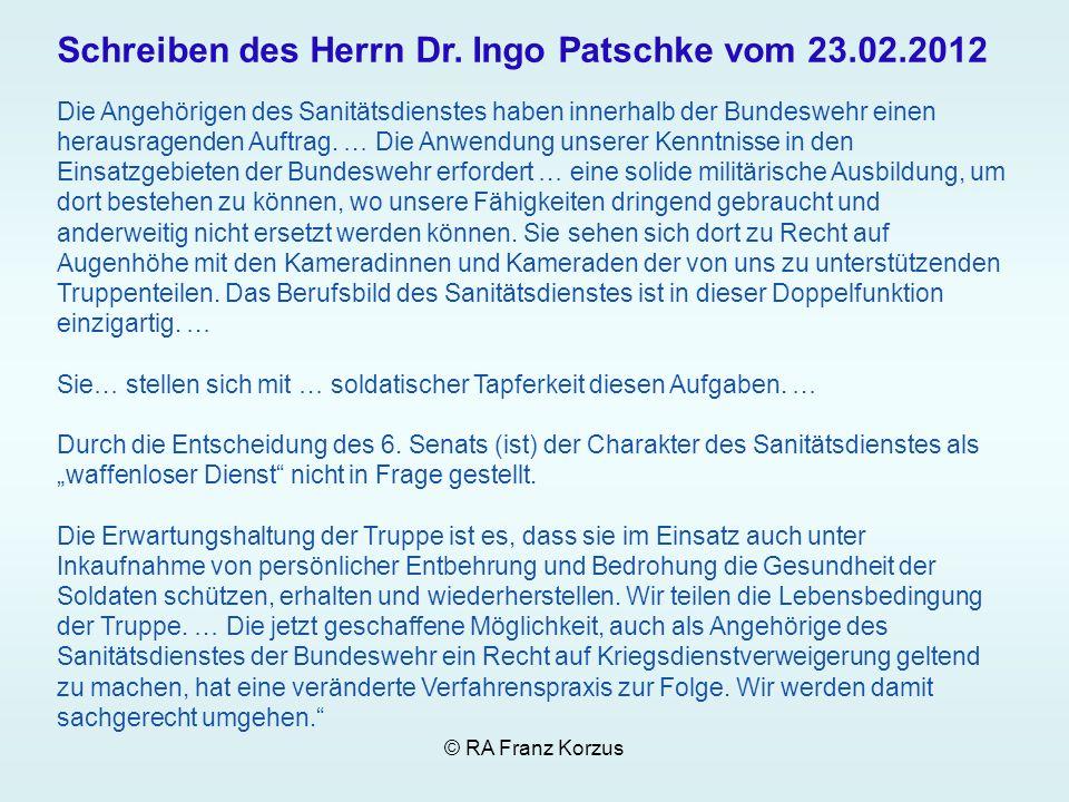 Schreiben des Herrn Dr. Ingo Patschke vom 23.02.2012