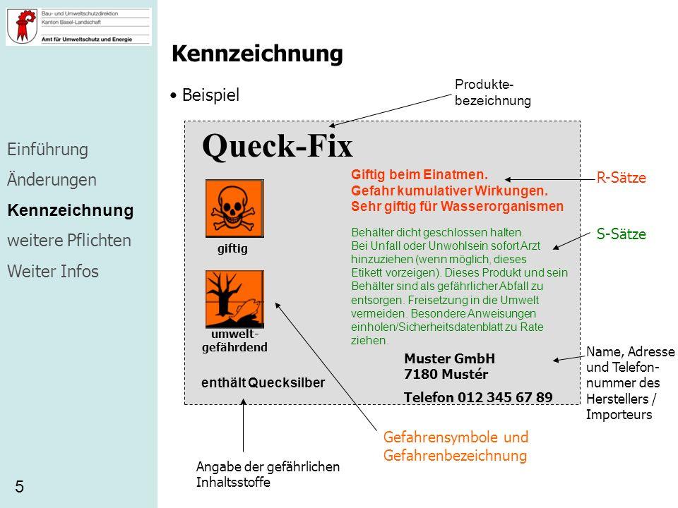 Queck-Fix Kennzeichnung Beispiel Einführung Änderungen Kennzeichnung