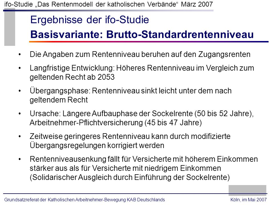 Ergebnisse der ifo-Studie Basisvariante: Brutto-Standardrentenniveau
