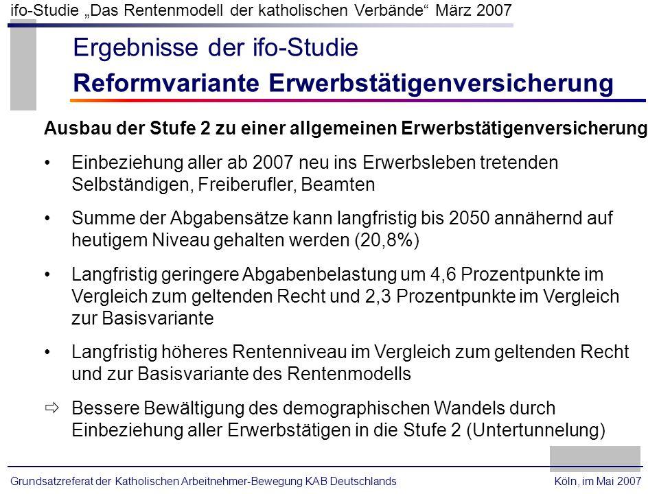 Ergebnisse der ifo-Studie Reformvariante Erwerbstätigenversicherung