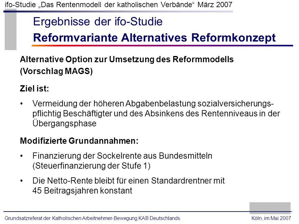 Ergebnisse der ifo-Studie Reformvariante Alternatives Reformkonzept