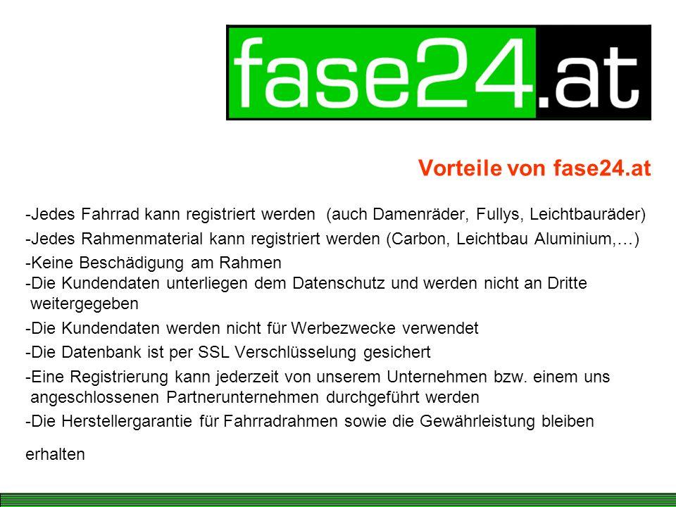 Vorteile von fase24.at Jedes Fahrrad kann registriert werden (auch Damenräder, Fullys, Leichtbauräder)