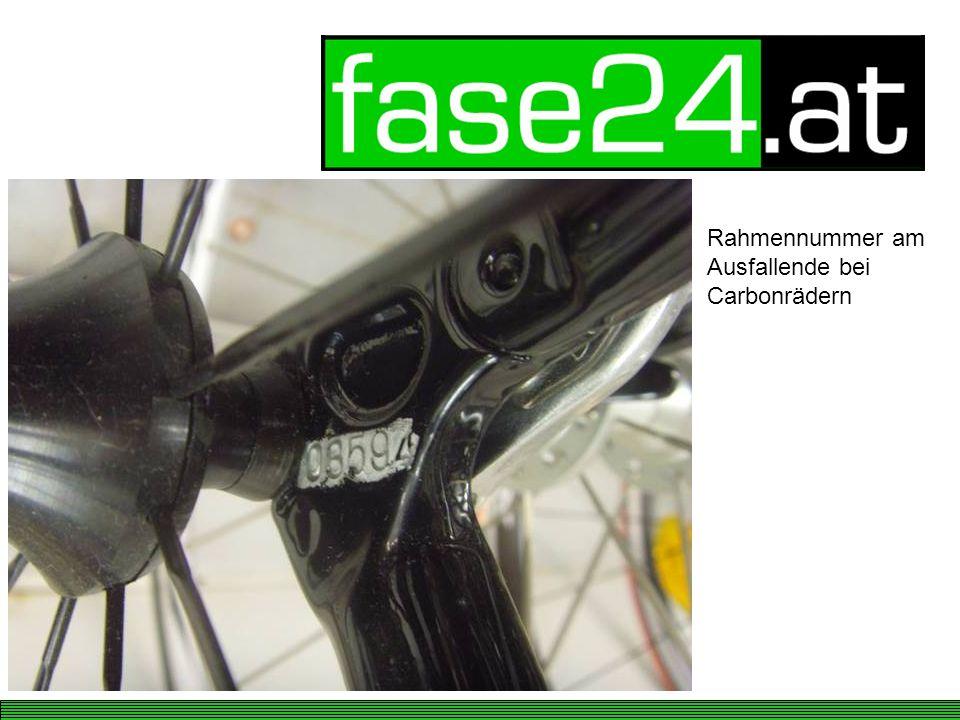 Rahmennummer am Ausfallende bei Carbonrädern