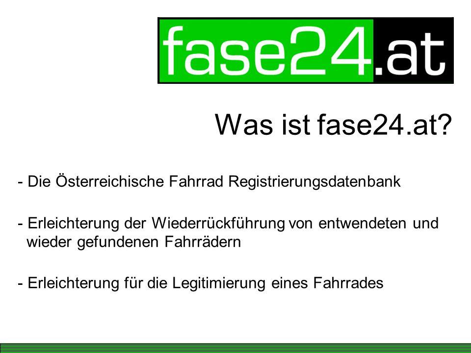Was ist fase24.at Die Österreichische Fahrrad Registrierungsdatenbank