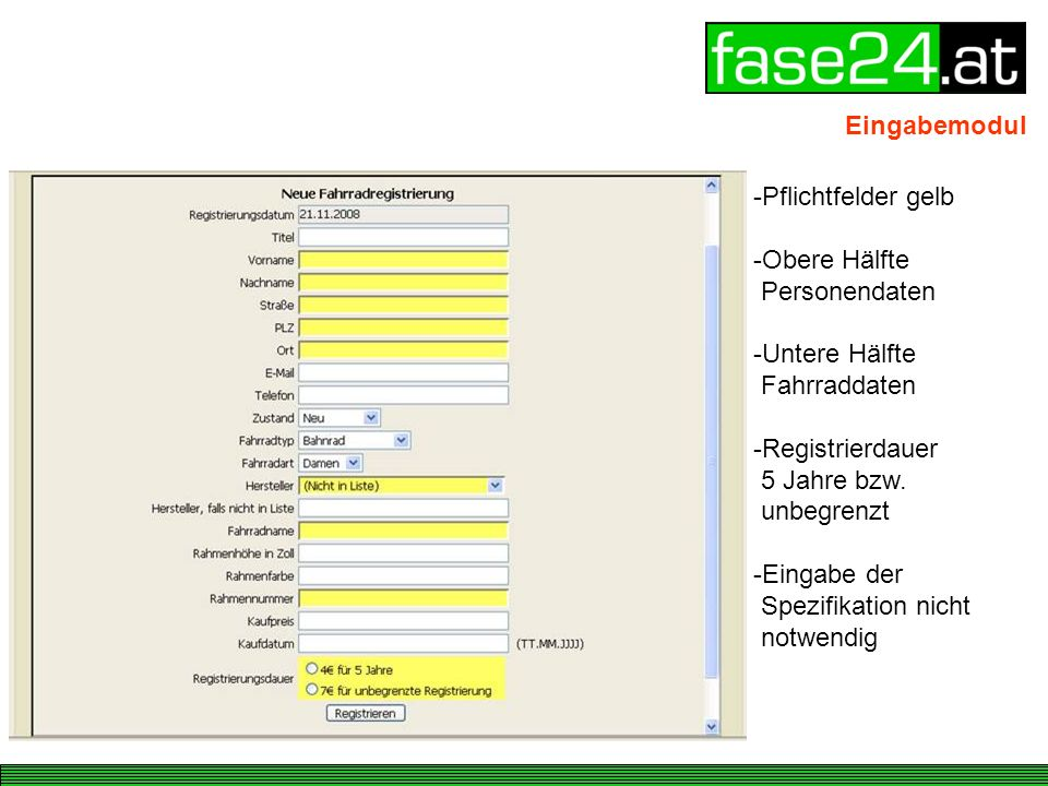 Eingabemodul Pflichtfelder gelb. Obere Hälfte Personendaten.