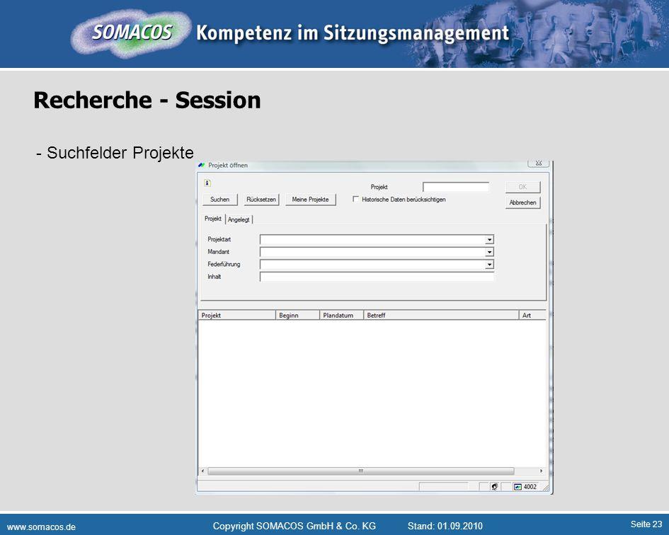 Recherche - Session - Suchfelder Projekte Plattformdienste