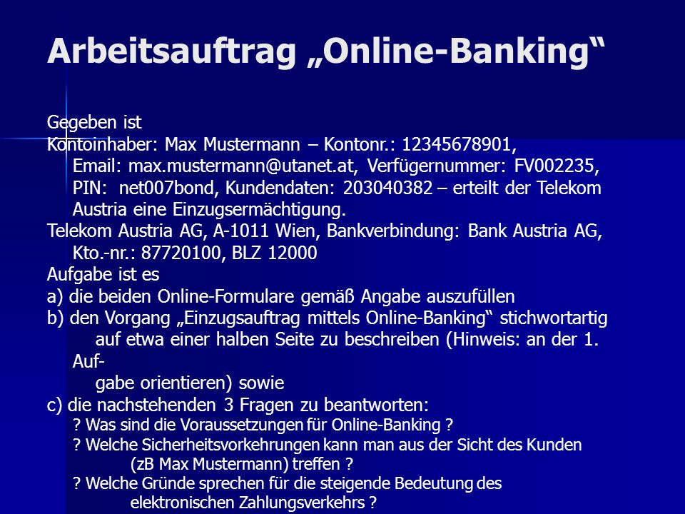 """Arbeitsauftrag """"Online-Banking"""