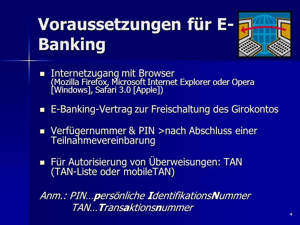 Voraussetzungen für E-Banking