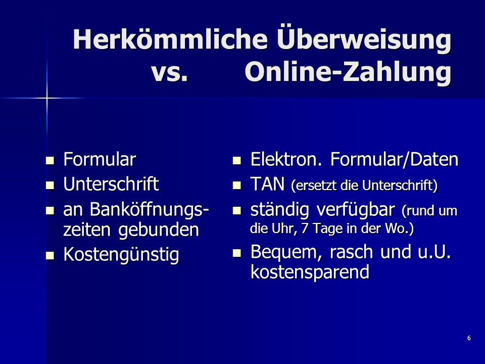 Herkömmliche Überweisung vs. Online-Zahlung