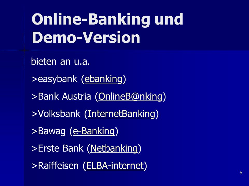 Online-Banking und Demo-Version