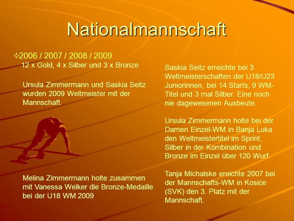Nationalmannschaft 2006 / 2007 / 2008 / 2009 12 x Gold, 4 x Silber und 3 x Bronze.