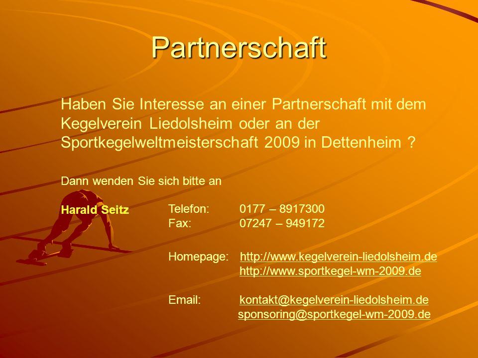 Partnerschaft Haben Sie Interesse an einer Partnerschaft mit dem Kegelverein Liedolsheim oder an der Sportkegelweltmeisterschaft 2009 in Dettenheim