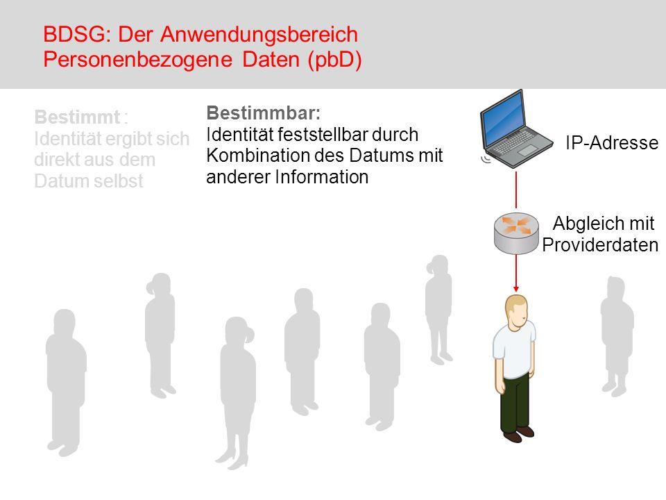 BDSG: Der Anwendungsbereich Personenbezogene Daten (pbD)