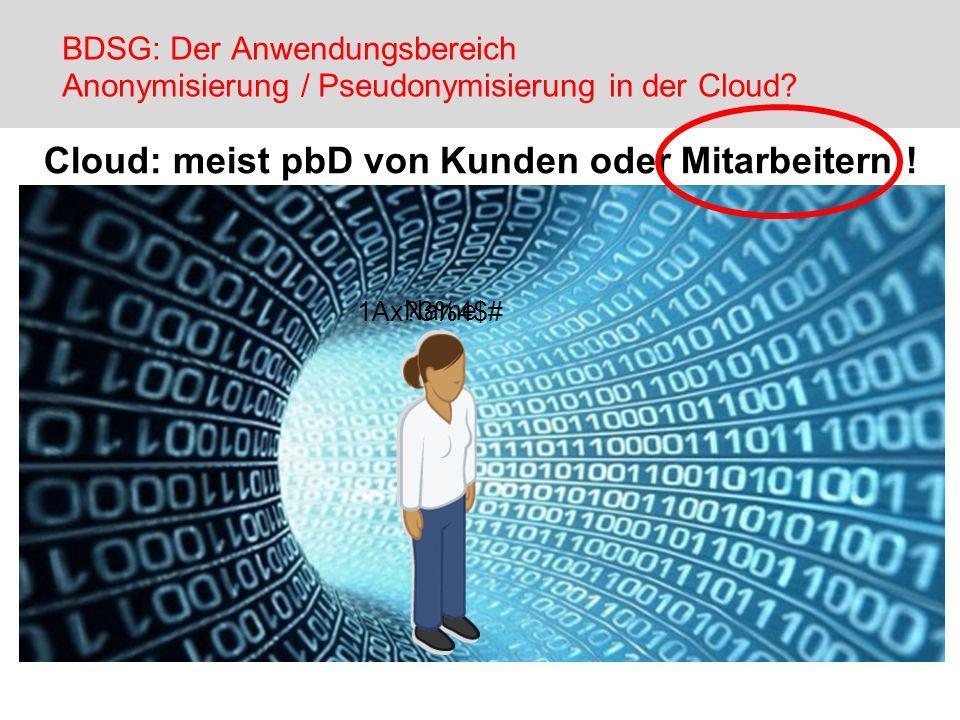 Cloud: meist pbD von Kunden oder Mitarbeitern !