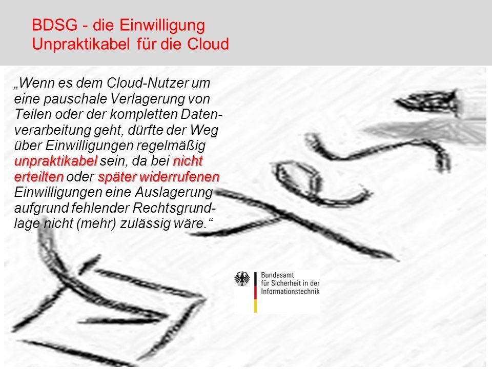 BDSG - die Einwilligung Unpraktikabel für die Cloud