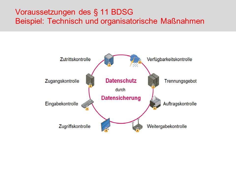 Voraussetzungen des § 11 BDSG Beispiel: Technisch und organisatorische Maßnahmen