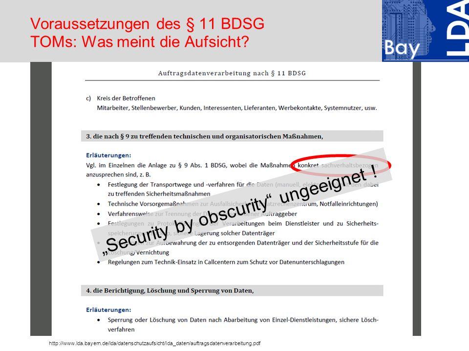 Voraussetzungen des § 11 BDSG TOMs: Was meint die Aufsicht