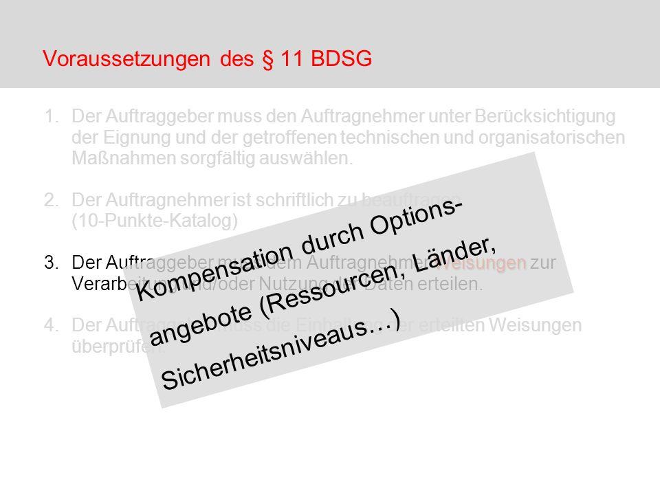 Voraussetzungen des § 11 BDSG