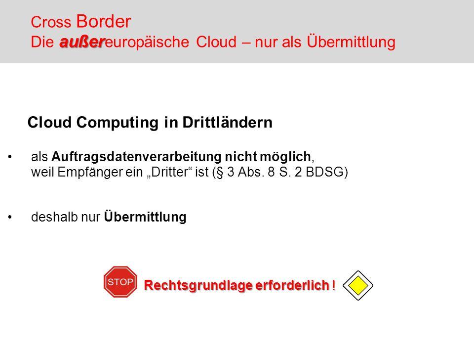 Cross Border Die außereuropäische Cloud – nur als Übermittlung