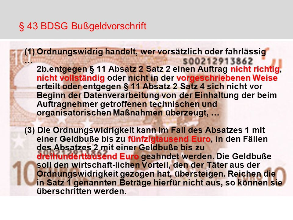 § 43 BDSG Bußgeldvorschrift