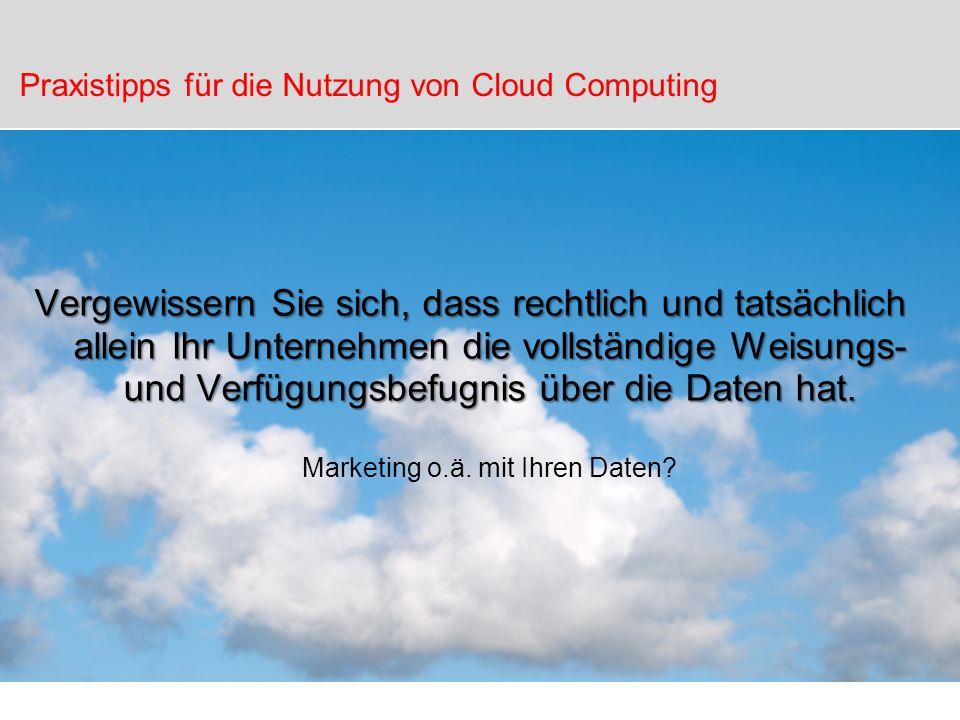 Praxistipps für die Nutzung von Cloud Computing