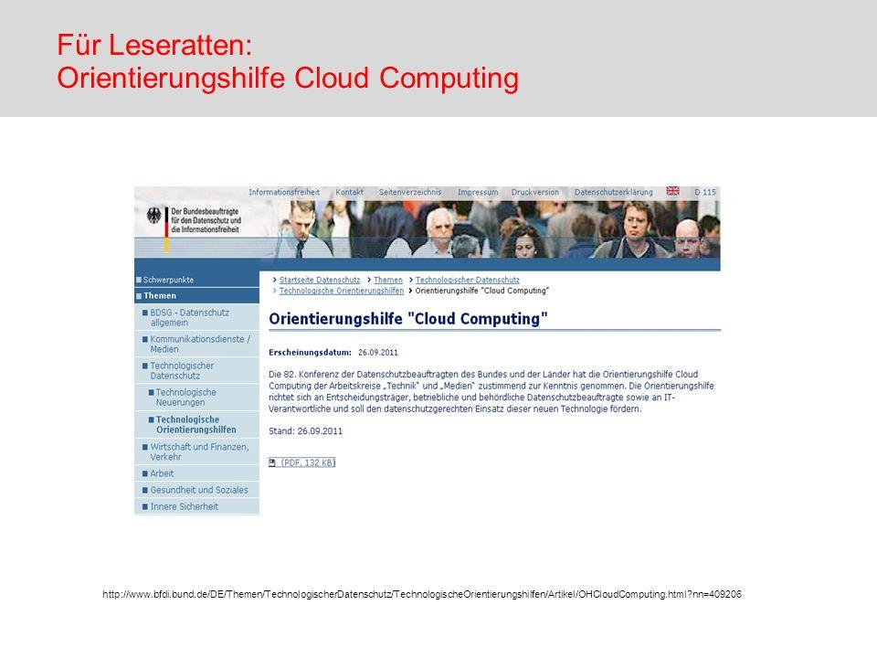 Für Leseratten: Orientierungshilfe Cloud Computing