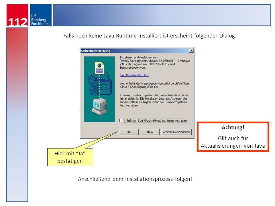Gilt auch für Aktualisierungen von Java