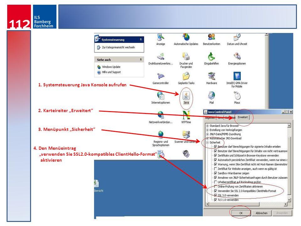 1. Systemsteuerung Java Konsole aufrufen