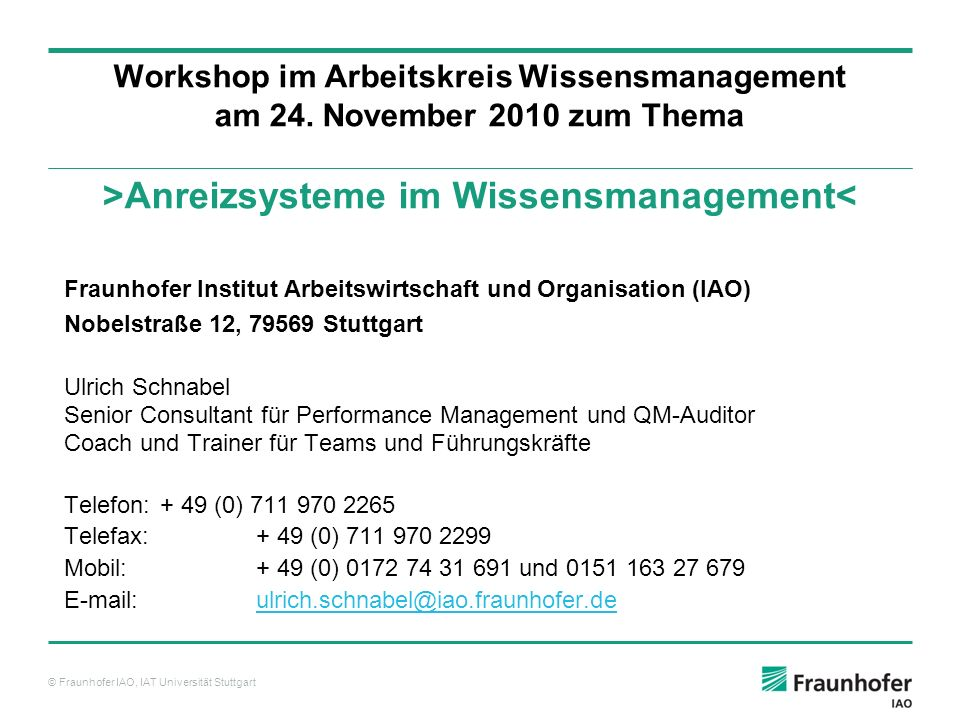 Workshop im Arbeitskreis Wissensmanagement am 24
