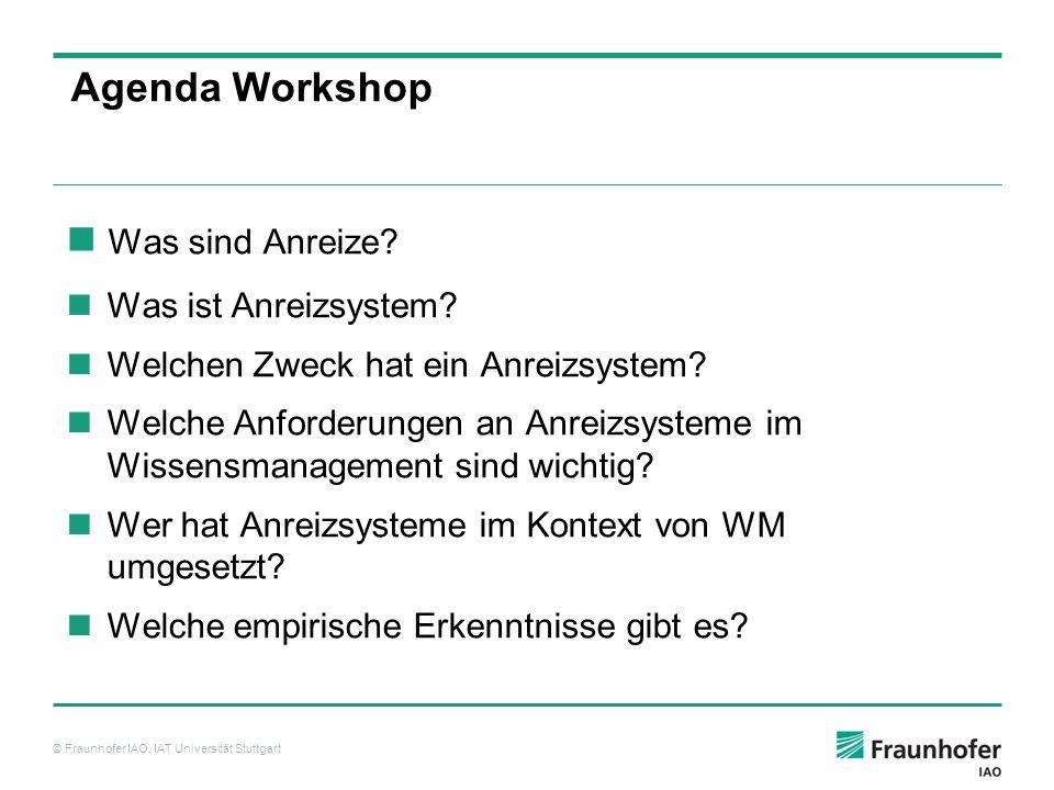 Agenda Workshop Was sind Anreize Was ist Anreizsystem