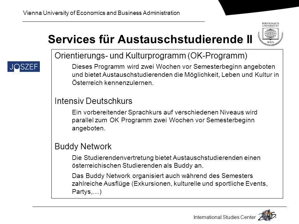 Services für Austauschstudierende II