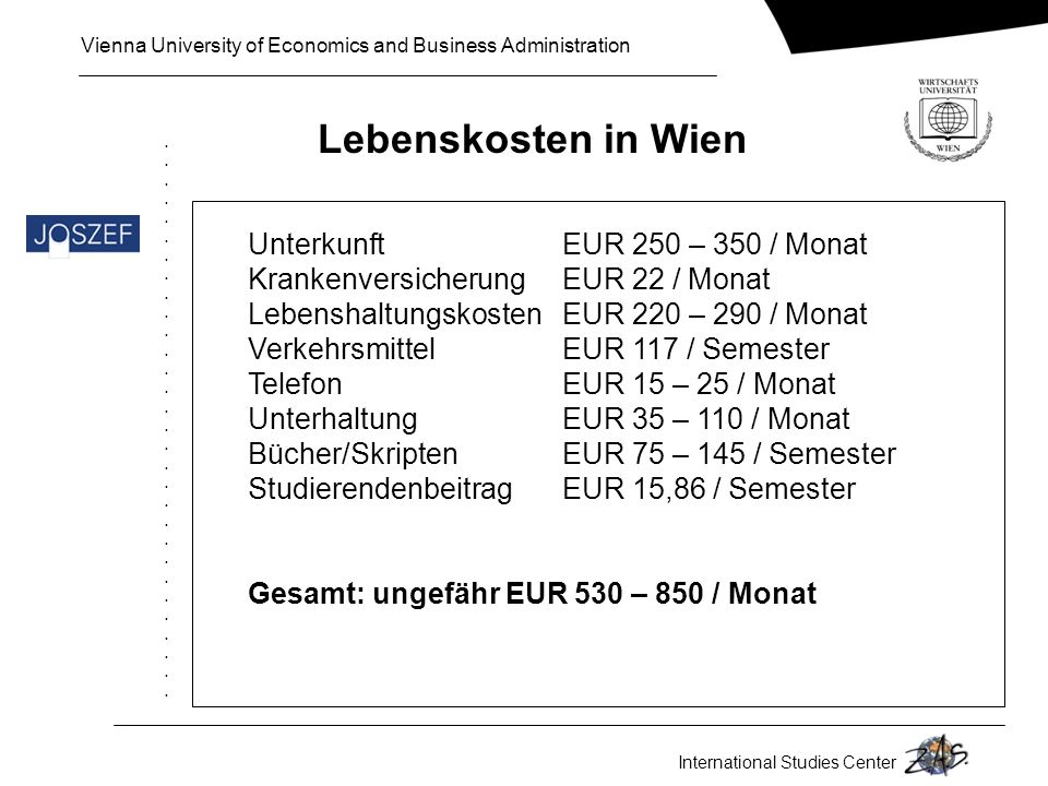 Lebenskosten in Wien Unterkunft EUR 250 – 350 / Monat