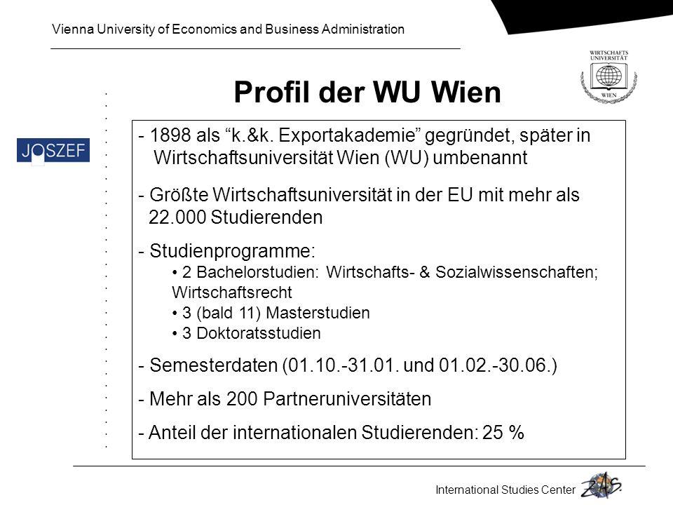Profil der WU Wien  1898 als k.&k. Exportakademie gegründet, später in. Wirtschaftsuniversität Wien (WU) umbenannt.
