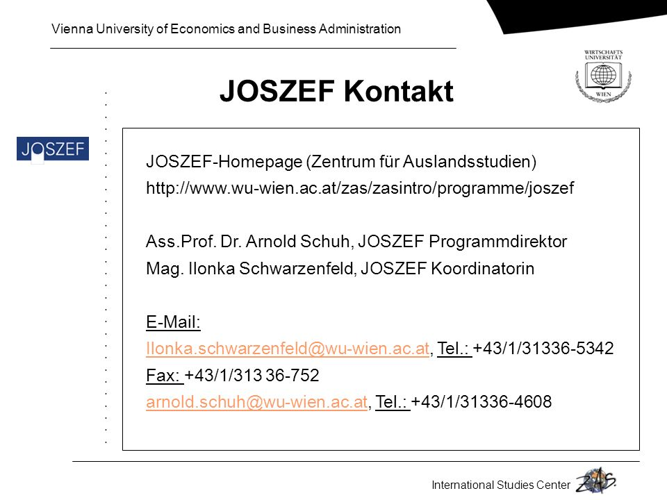 JOSZEF Kontakt JOSZEF-Homepage (Zentrum für Auslandsstudien)