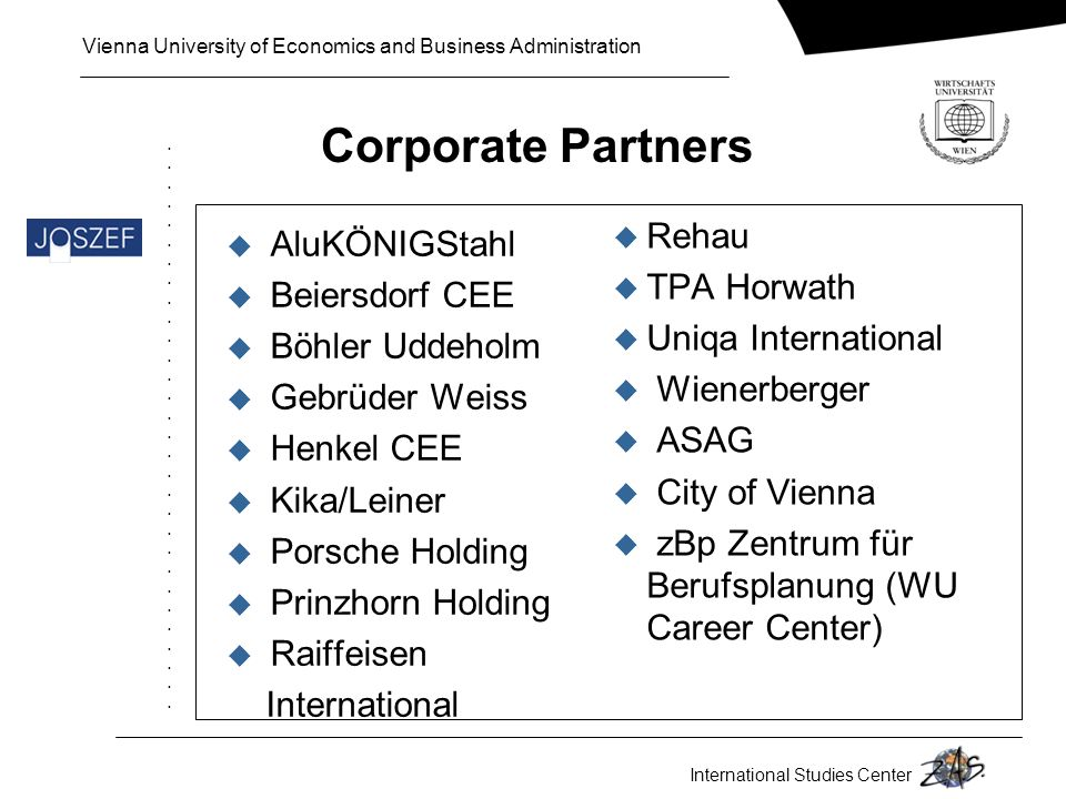 Corporate Partners Rehau AluKÖNIGStahl TPA Horwath Beiersdorf CEE