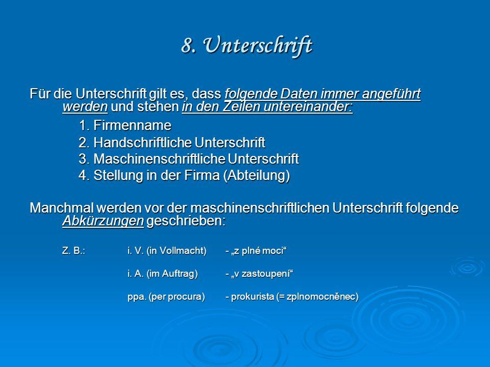 8. Unterschrift 1. Firmenname