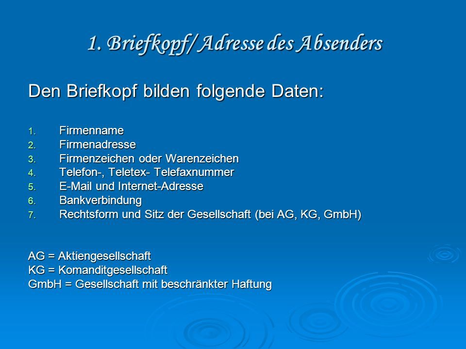1. Briefkopf/ Adresse des Absenders