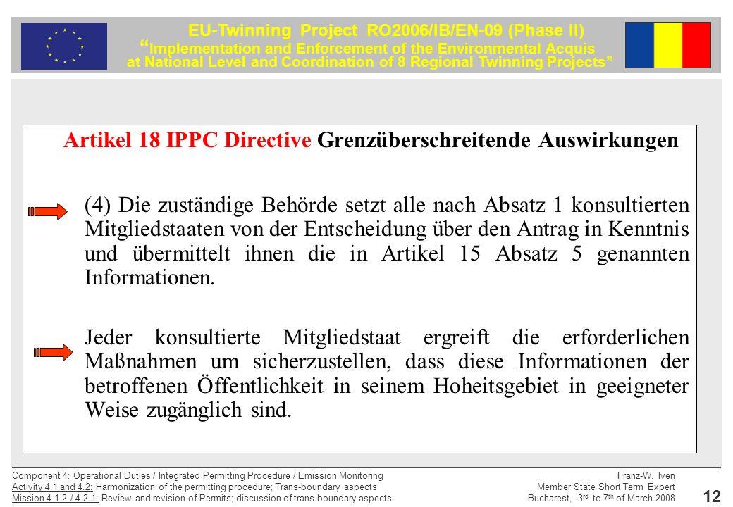 Artikel 18 IPPC Directive Grenzüberschreitende Auswirkungen