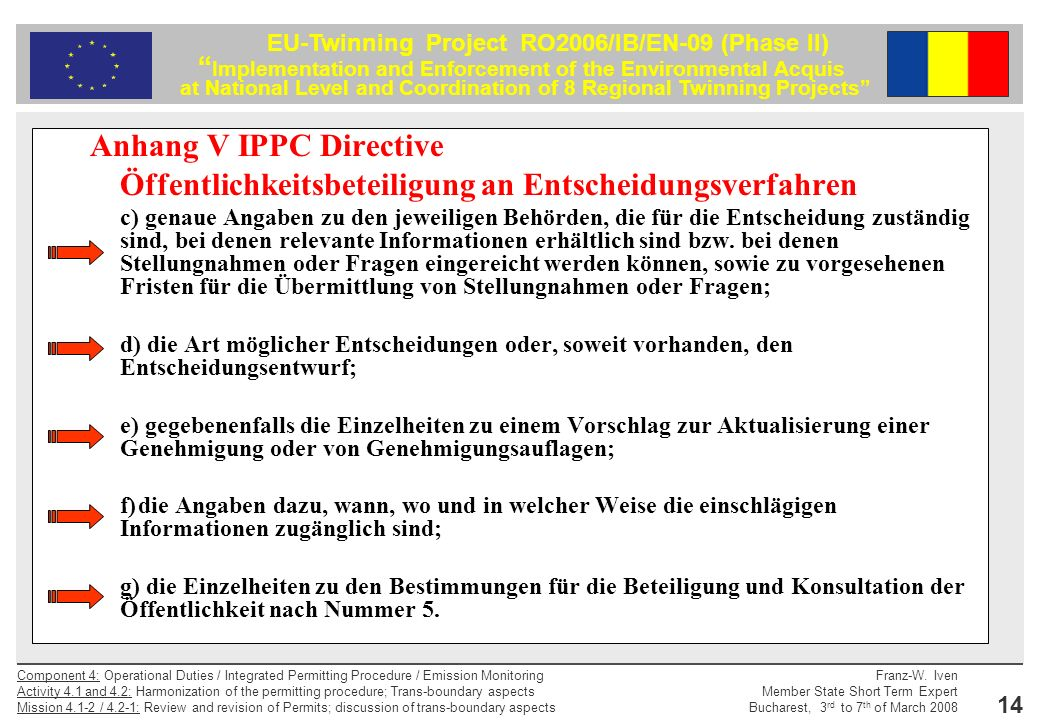 Anhang V IPPC Directive