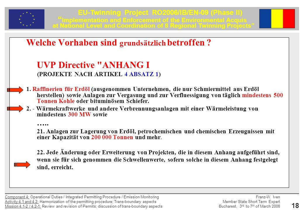 Welche Vorhaben sind grundsätzlich betroffen UVP Directive ANHANG I