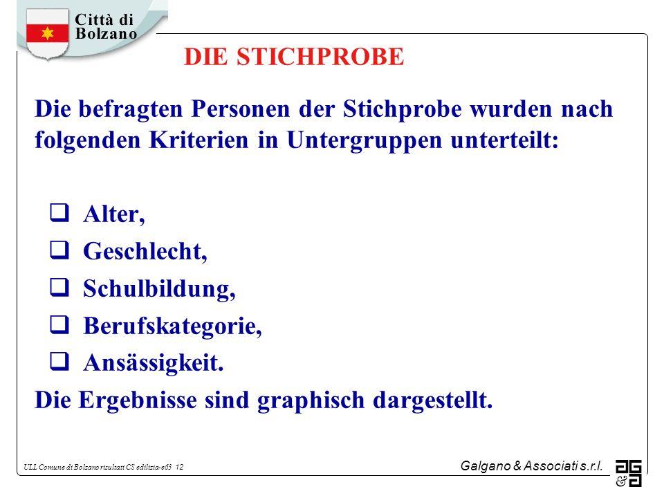 DIE STICHPROBE Die befragten Personen der Stichprobe wurden nach folgenden Kriterien in Untergruppen unterteilt: