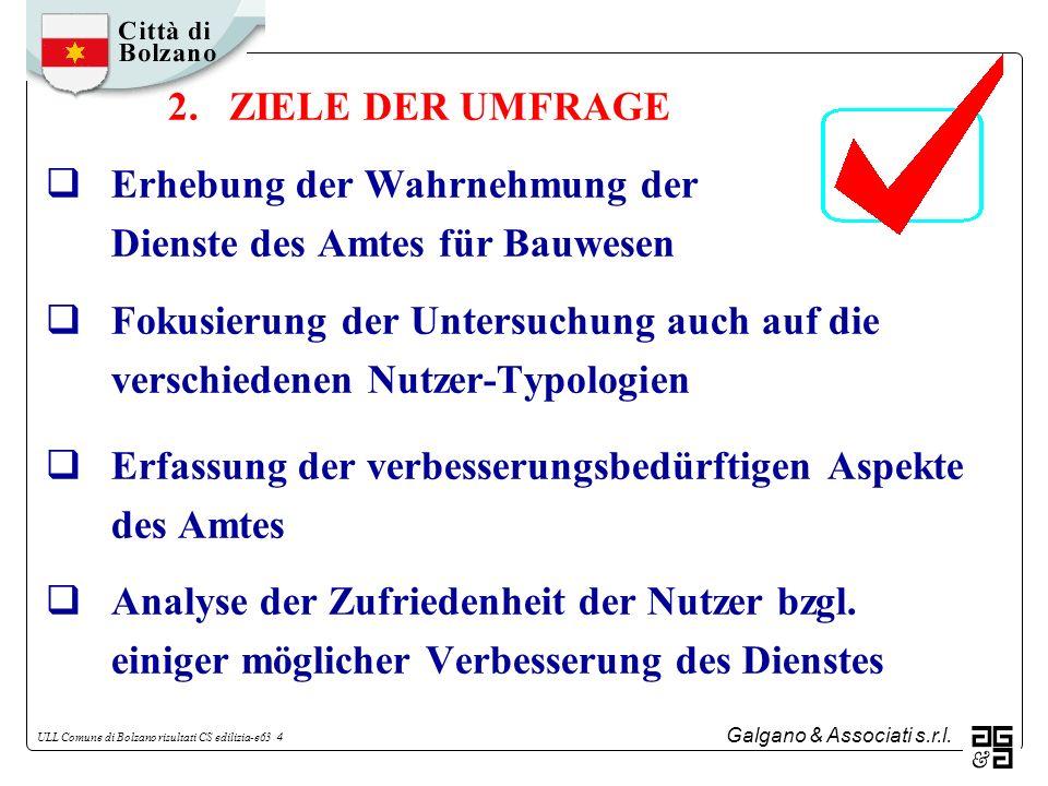 2. ZIELE DER UMFRAGE Erhebung der Wahrnehmung der Dienste des Amtes für Bauwesen.