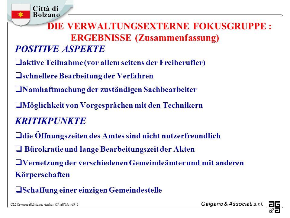 DIE VERWALTUNGSEXTERNE FOKUSGRUPPE : ERGEBNISSE (Zusammenfassung)