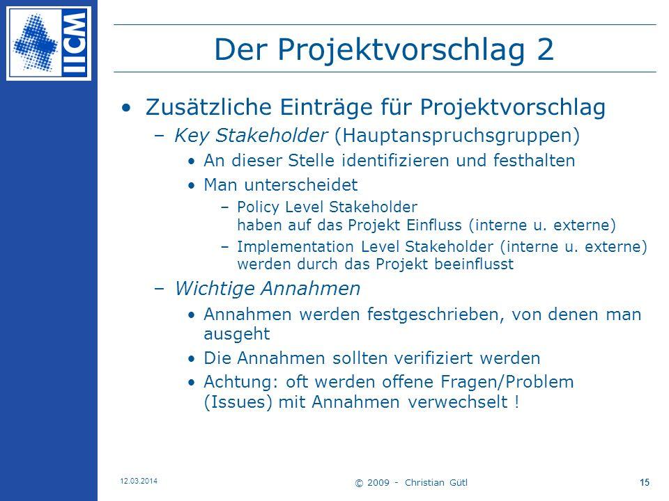 Der Projektvorschlag 2 Zusätzliche Einträge für Projektvorschlag