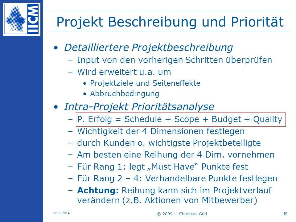 Projekt Beschreibung und Priorität